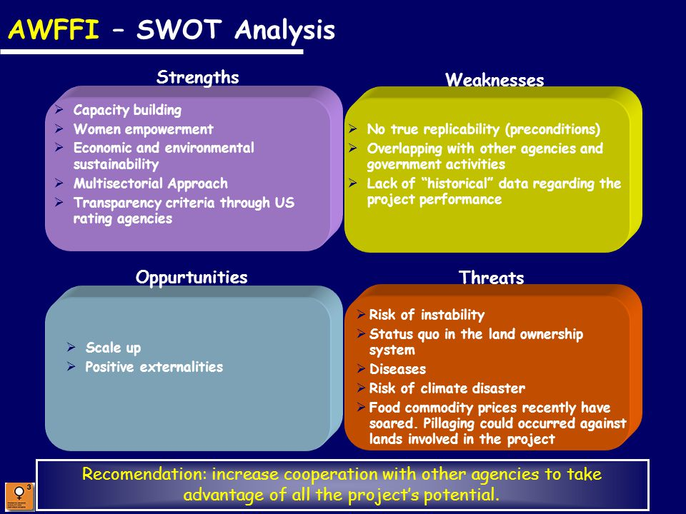 Promote Gender Equality and Empower Women AWFFI – SWOT Analysis Capacity building Women empowerment Economic and environmental sustainability Multisec