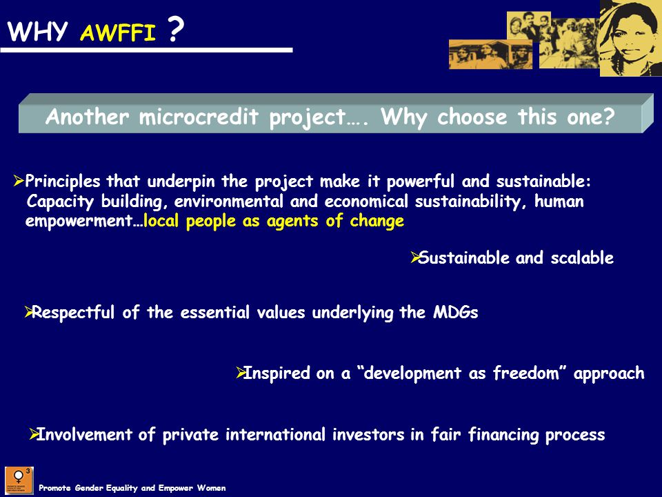 Promote Gender Equality and Empower Women WHY AWFFI ? Another microcredit project…. Why choose this one? Principles that underpin the project make it