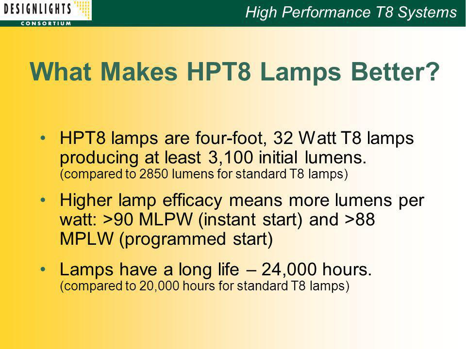 High Performance T8 Systems What Makes HPT8 Lamps Better.