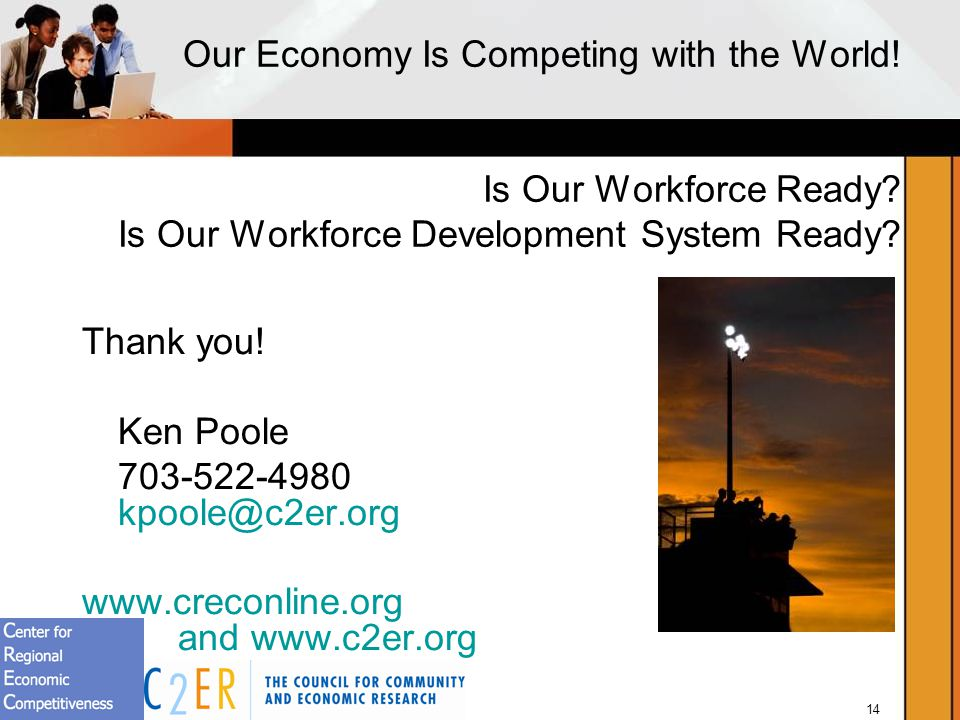 14 Our Economy Is Competing with the World.Is Our Workforce Ready.
