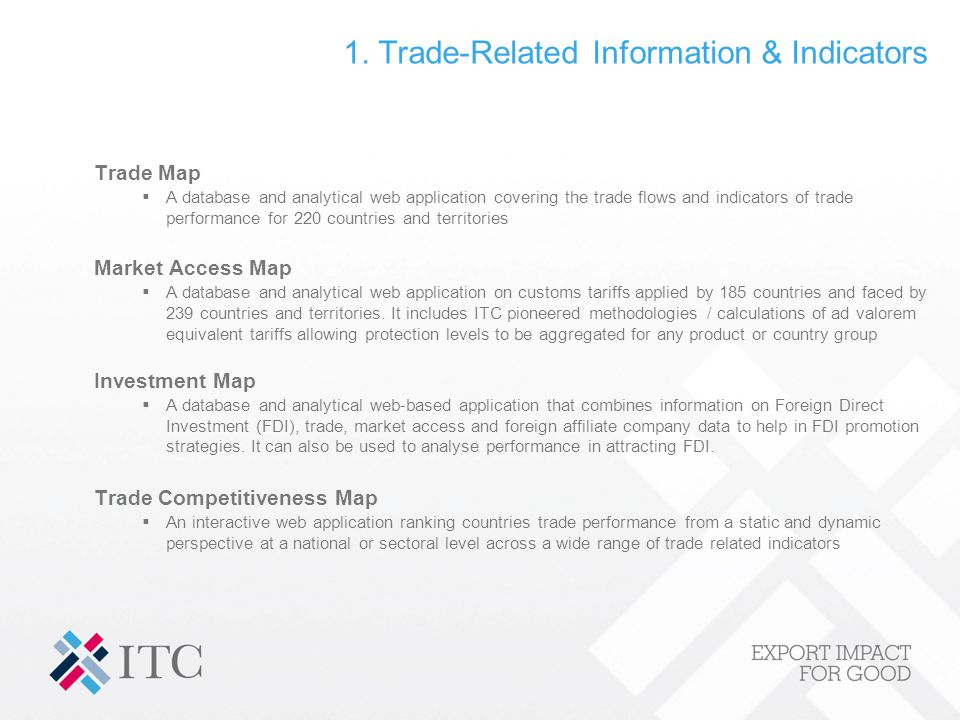 1. Trade-Related Information & Indicators Trade Map A database and analytical web application covering the trade flows and indicators of trade perform
