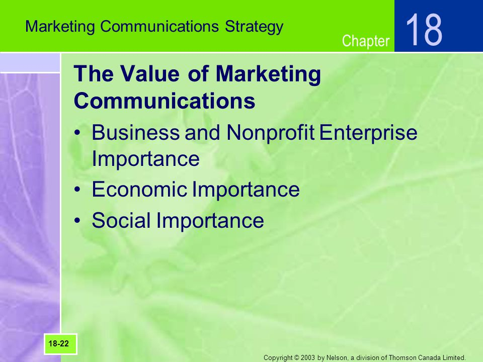 Chapter Copyright © 2003 by Nelson, a division of Thomson Canada Limited. The Value of Marketing Communications Business and Nonprofit Enterprise Impo