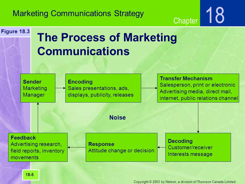 Chapter Copyright © 2003 by Nelson, a division of Thomson Canada Limited. The Process of Marketing Communications 18 Marketing Communications Strategy