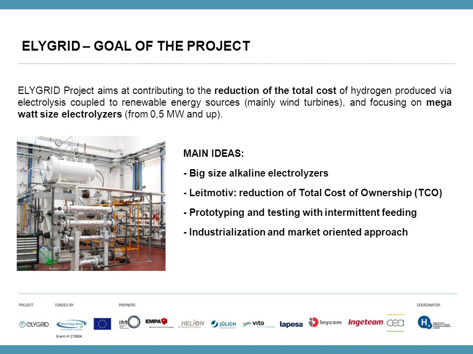 ELYGRID – GOAL OF THE PROJECT ELYGRID Project aims at contributing to the reduction of the total cost of hydrogen produced via electrolysis coupled to