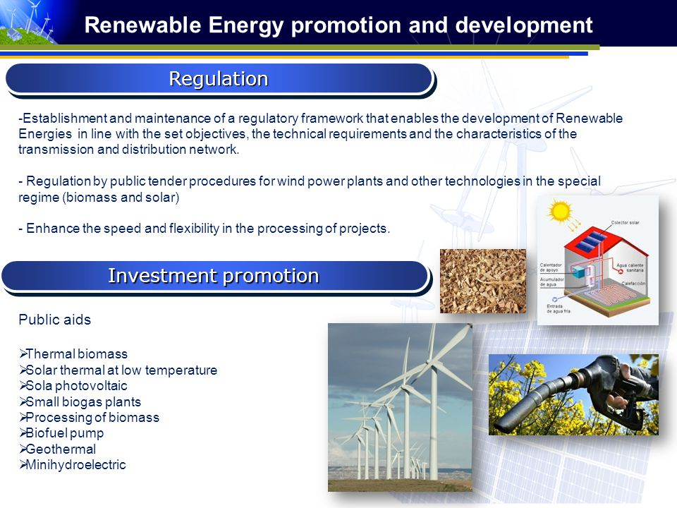 Public aids Thermal biomass Solar thermal at low temperature Sola photovoltaic Small biogas plants Processing of biomass Biofuel pump Geothermal Minih