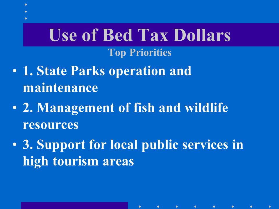 Use of Bed Tax Dollars Top Priorities 1.State Parks operation and maintenance 2.