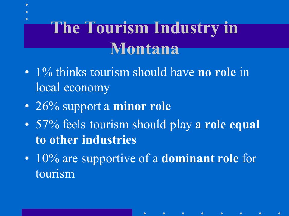 The Tourism Industry in Montana 1% thinks tourism should have no role in local economy 26% support a minor role 57% feels tourism should play a role equal to other industries 10% are supportive of a dominant role for tourism