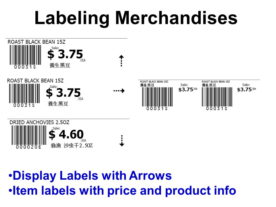 Labeling Merchandises Display Labels with Arrows Item labels with price and product info