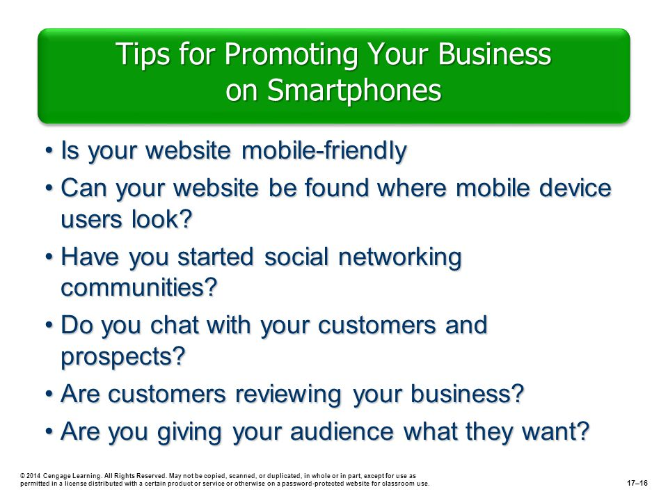 Tips for Promoting Your Business on Smartphones Is your website mobile-friendlyIs your website mobile-friendly Can your website be found where mobile