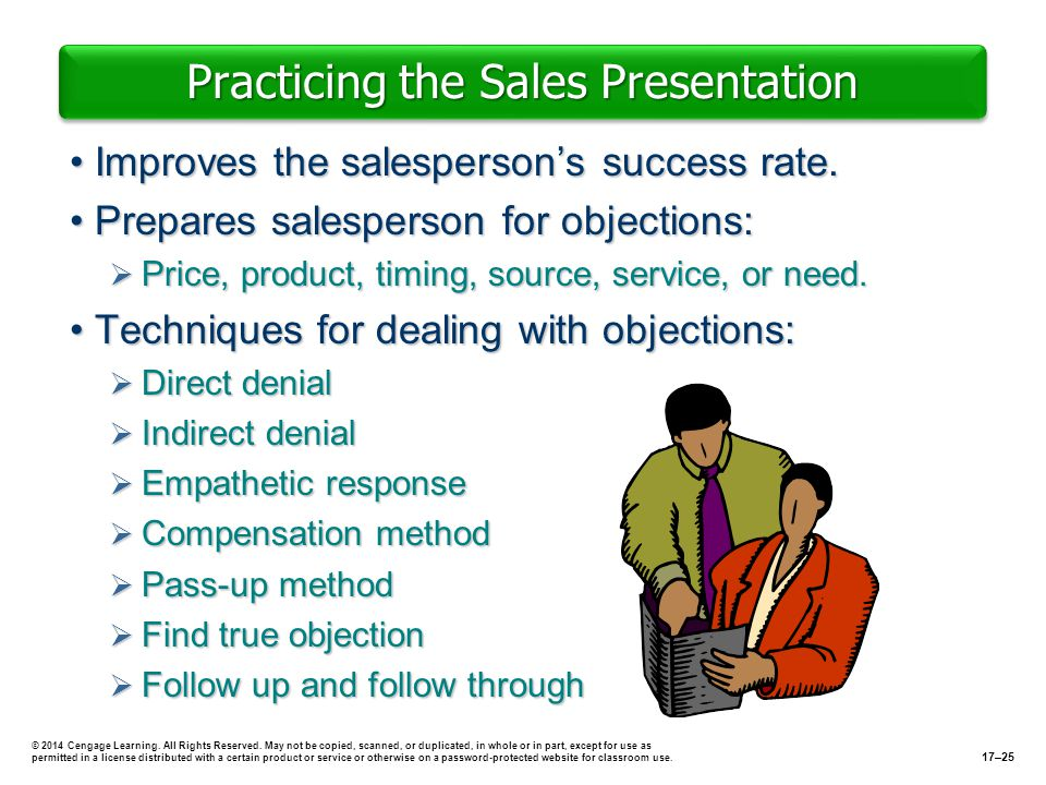 Practicing the Sales Presentation Improves the salespersons success rate.Improves the salespersons success rate. Prepares salesperson for objections:P