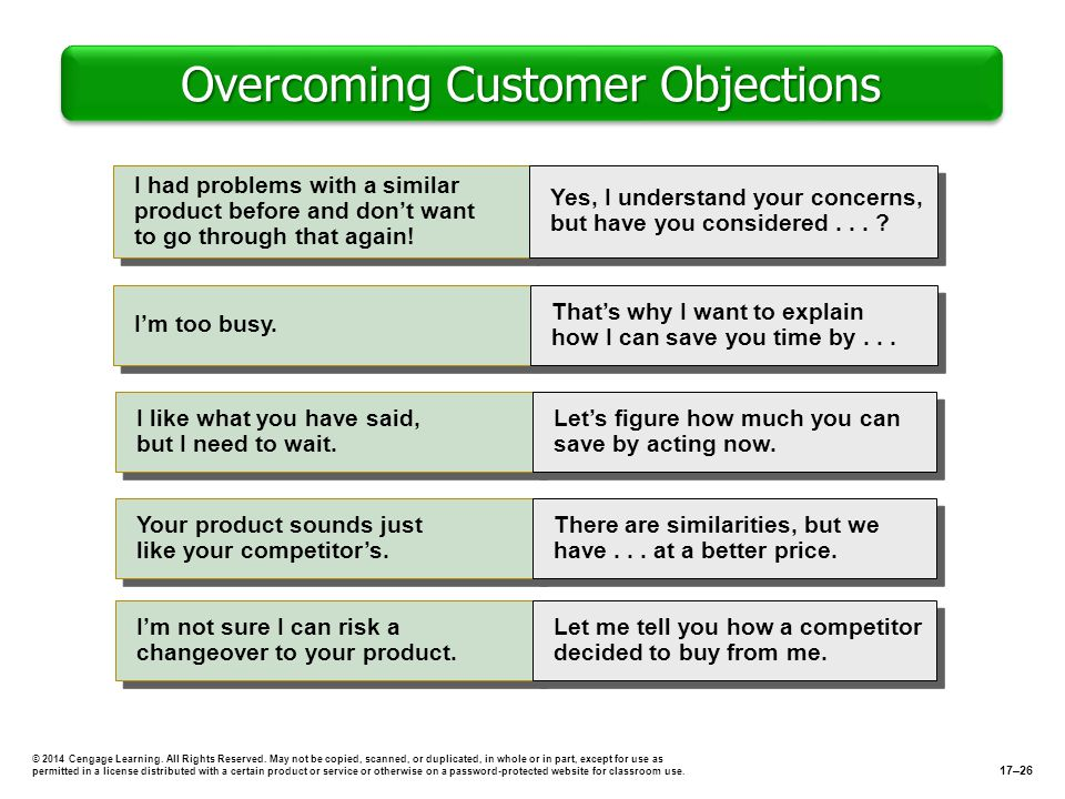 Overcoming Customer Objections © 2014 Cengage Learning. All Rights Reserved. May not be copied, scanned, or duplicated, in whole or in part, except fo