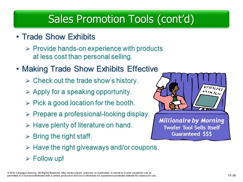 Sales Promotion Tools (contd) Trade Show ExhibitsTrade Show Exhibits Provide hands-on experience with products at less cost than personal selling. Pro