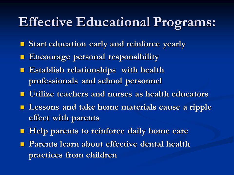 Effective Educational Programs: Start education early and reinforce yearly Start education early and reinforce yearly Encourage personal responsibilit