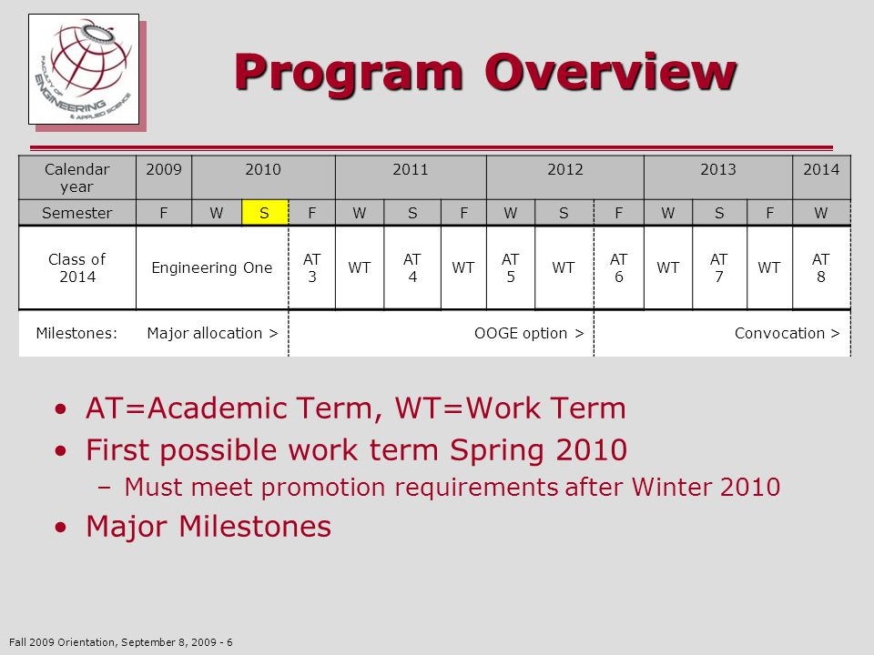 Fall 2009 Orientation, September 8, 2009 - 6 Program Overview AT=Academic Term, WT=Work Term First possible work term Spring 2010 –Must meet promotion requirements after Winter 2010 Major Milestones Calendar year 200920102011201220132014 SemesterFWSFWSFWSFWSFW Class of 2014 Engineering One AT 3 WT AT 4 WT AT 5 WT AT 6 WT AT 7 WT AT 8 Milestones:Major allocation >OOGE option >Convocation >