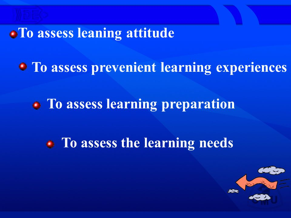 To assess leaning attitude To assess prevenient learning experiences To assess learning preparation To assess the learning needs