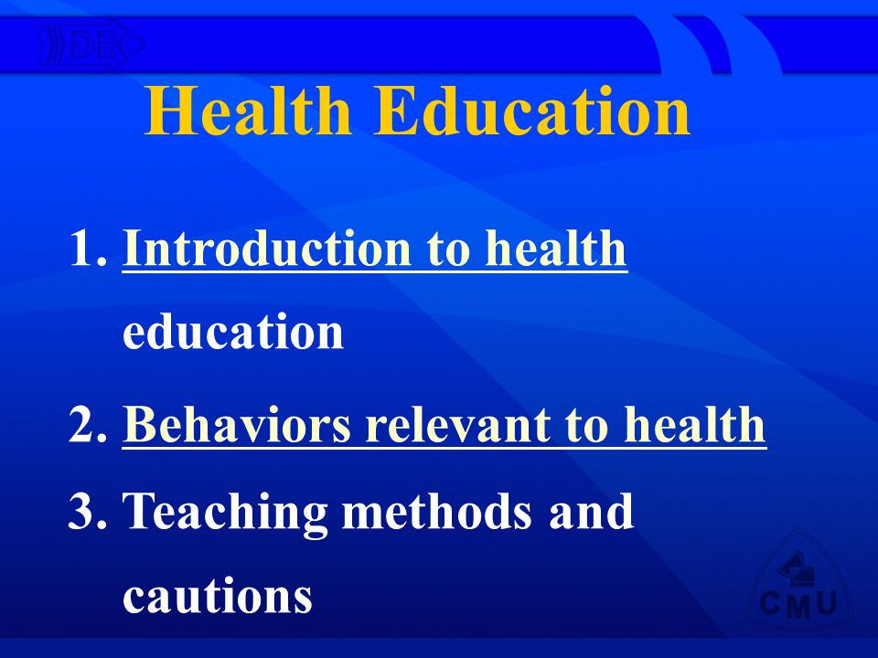 (1) Definition of health educationDefinition of health education (2) Purpose and tasks of health educationPurpose and tasks of health education (3) Principles of health educationPrinciples of health education (4) Process of health educationProcess of health education (5) The roles and functions of nurses inThe roles and functions of nurses in the health education Introduction to health education