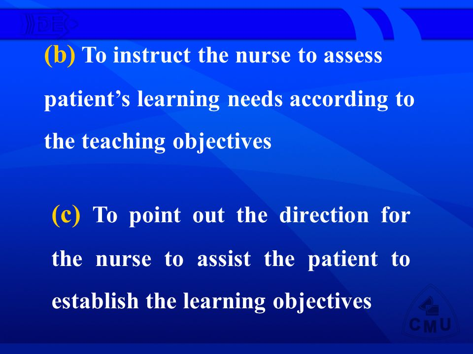 (b) To instruct the nurse to assess patients learning needs according to the teaching objectives (c) To point out the direction for the nurse to assist the patient to establish the learning objectives