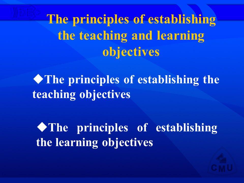 The principles of establishing the teaching and learning objectives The principles of establishing the teaching objectives The principles of establishing the learning objectives