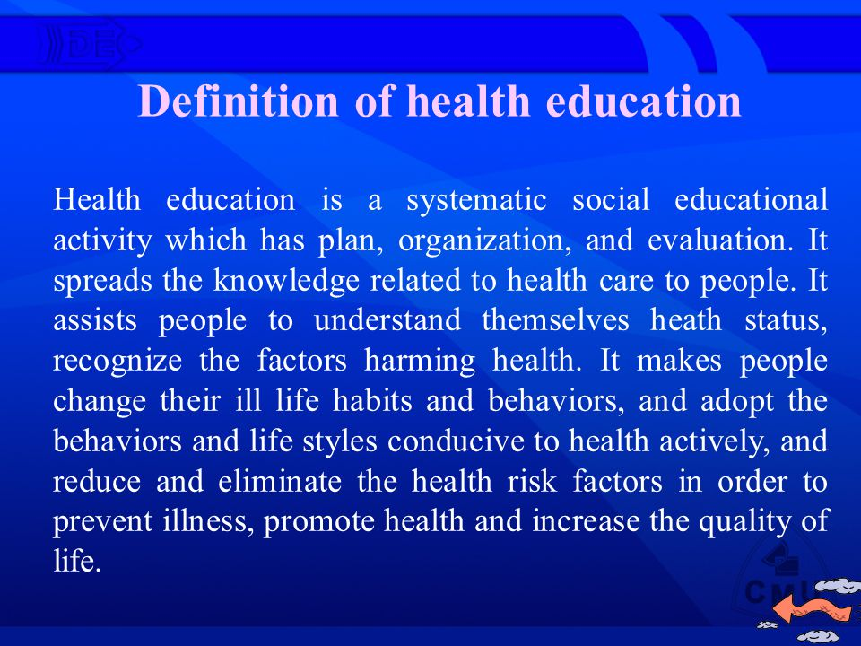 Purpose and tasks of health education (a) Purpose of health education (b) Tasks of health education