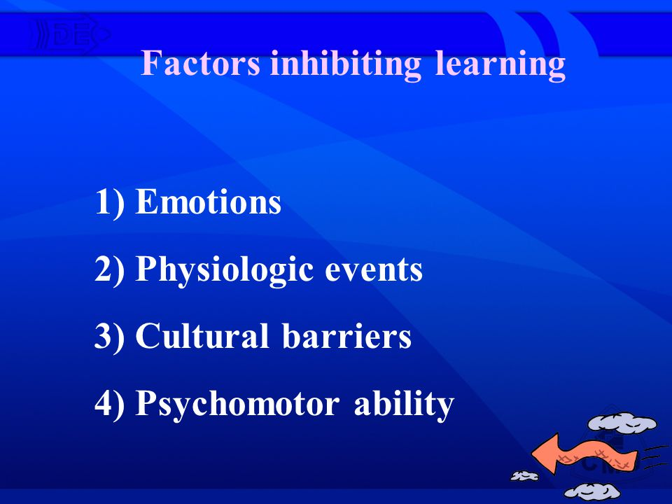 Factors inhibiting learning 1) Emotions 2) Physiologic events 3) Cultural barriers 4) Psychomotor ability