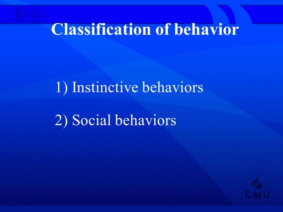 Classification of behavior 1) Instinctive behaviors 2) Social behaviors