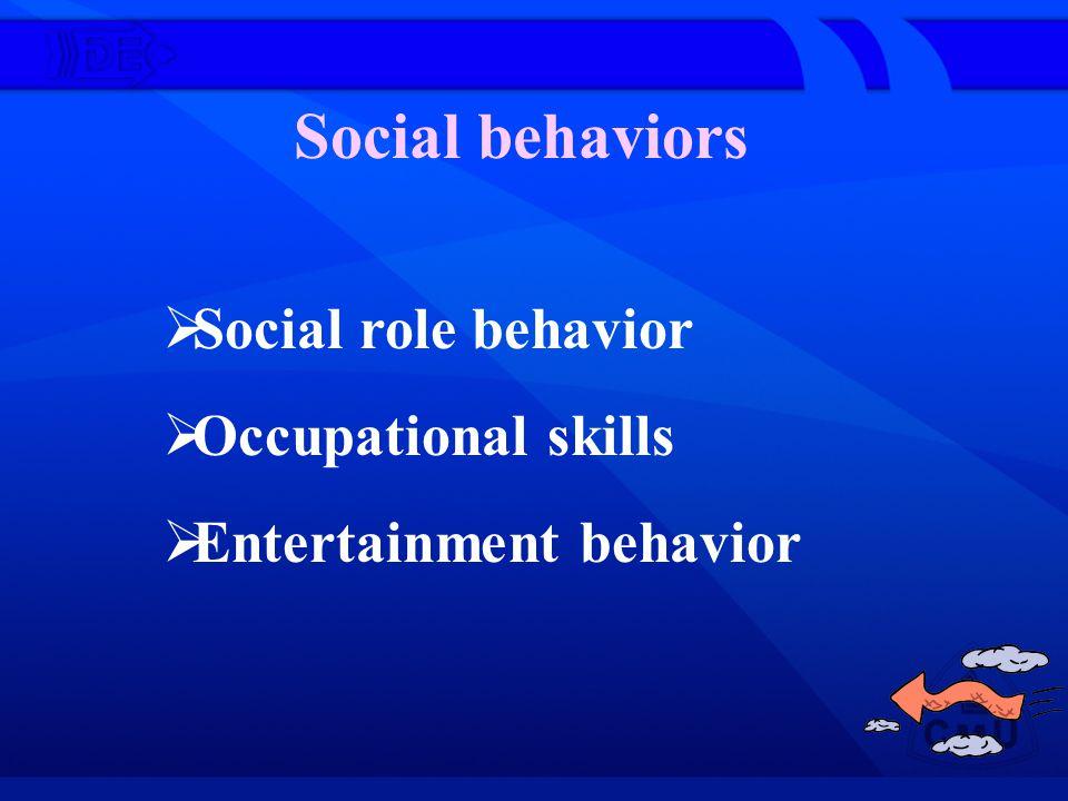 Social behaviors Social role behavior Occupational skills Entertainment behavior