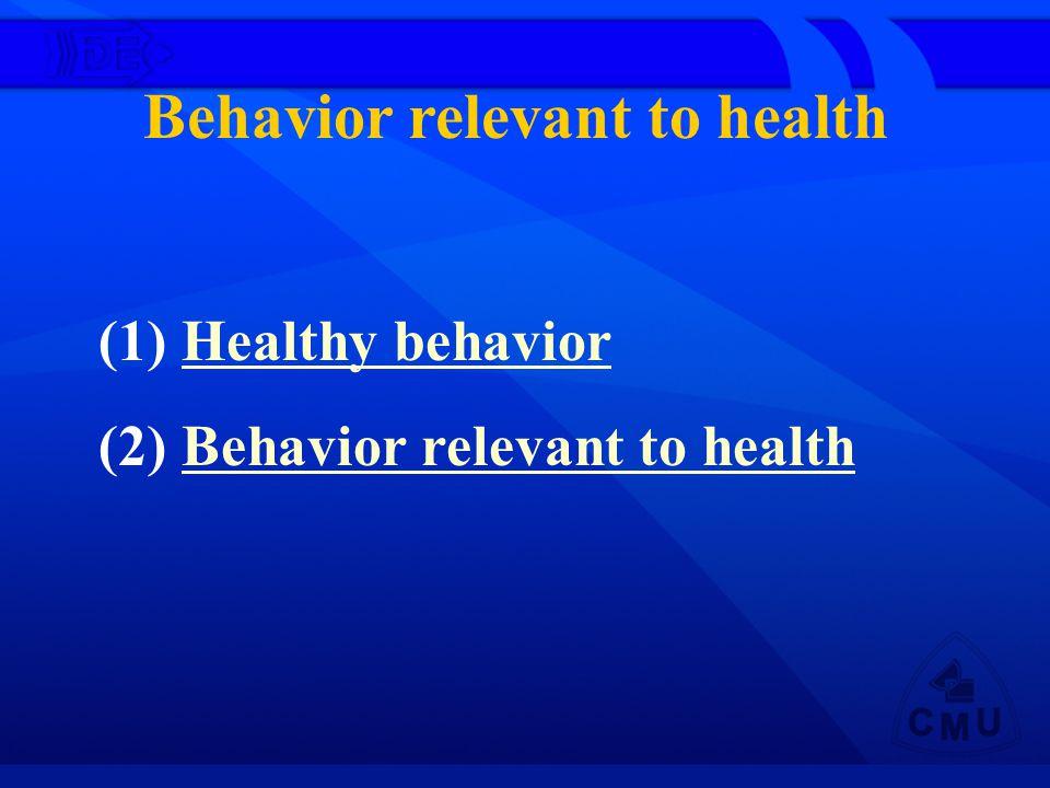 Behavior relevant to health (1) Healthy behaviorHealthy behavior (2) Behavior relevant to healthBehavior relevant to health