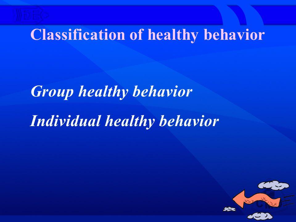 Group healthy behavior Individual healthy behavior Classification of healthy behavior