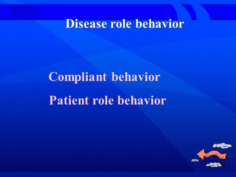 Disease role behavior Compliant behavior Patient role behavior
