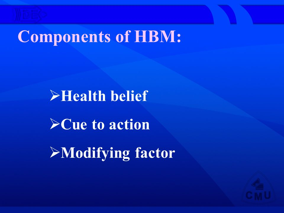 Components of HBM: Health belief Cue to action Modifying factor