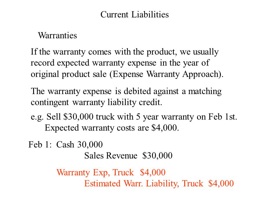 Current Liabilities Warranties If the warranty comes with the product, we usually record expected warranty expense in the year of original product sale (Expense Warranty Approach).
