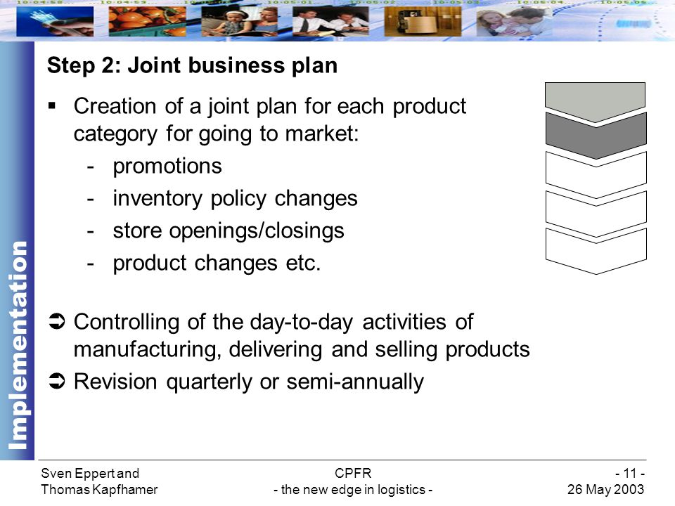 Sven Eppert and Thomas Kapfhamer CPFR - the new edge in logistics - 26 May 2003 - 11 - Step 2: Joint business plan Implementation Creation of a joint plan for each product category for going to market: -promotions -inventory policy changes -store openings/closings -product changes etc.