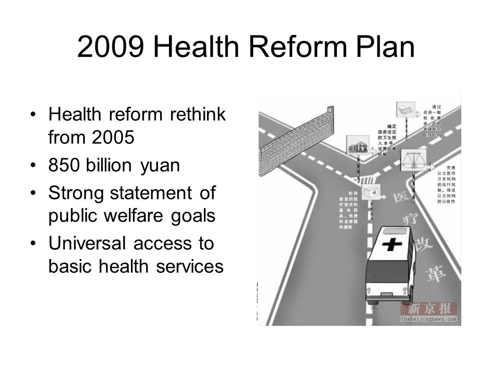 2009 Health Reform Plan Health reform rethink from 2005 850 billion yuan Strong statement of public welfare goals Universal access to basic health ser