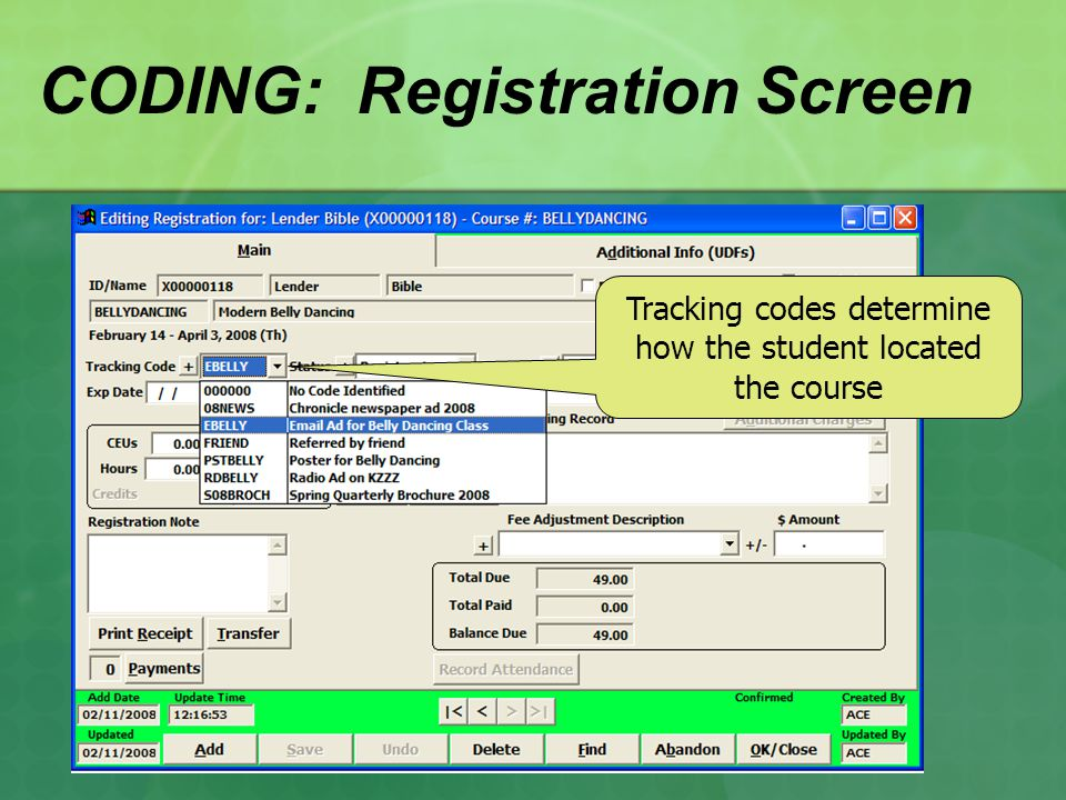 CODING: Registration Screen Tracking codes determine how the student located the course