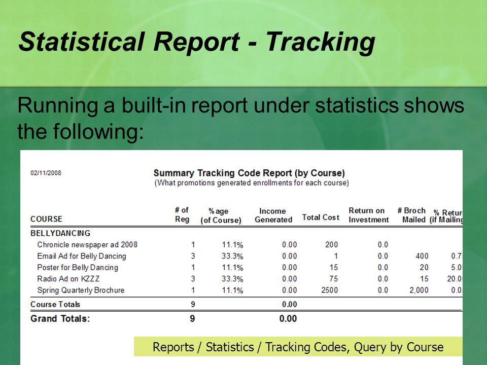 Statistical Report - Tracking Running a built-in report under statistics shows the following: Reports / Statistics / Tracking Codes, Query by Course