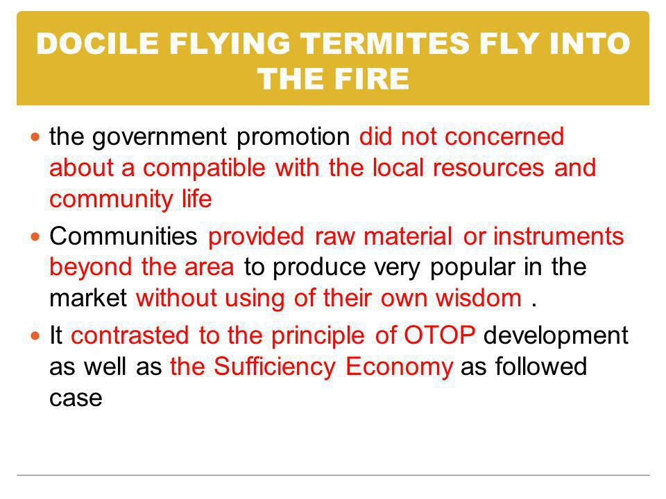 DOCILE FLYING TERMITES FLY INTO THE FIRE the government promotion did not concerned about a compatible with the local resources and community life Com
