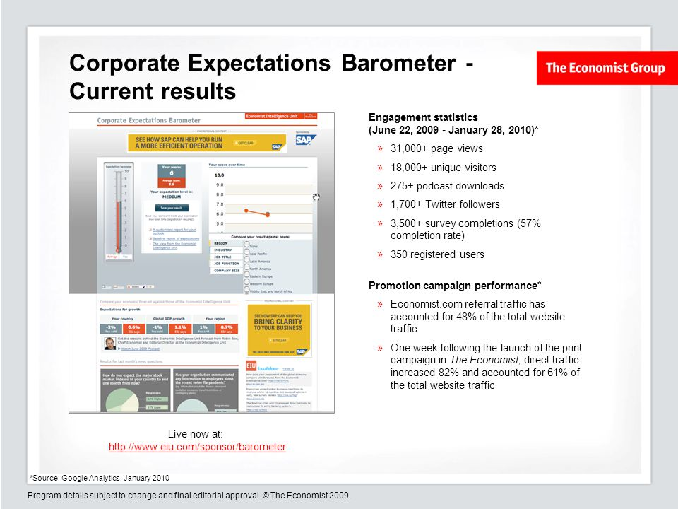 Program details subject to change and final editorial approval. © The Economist 2009. Corporate Expectations Barometer - Current results Engagement st