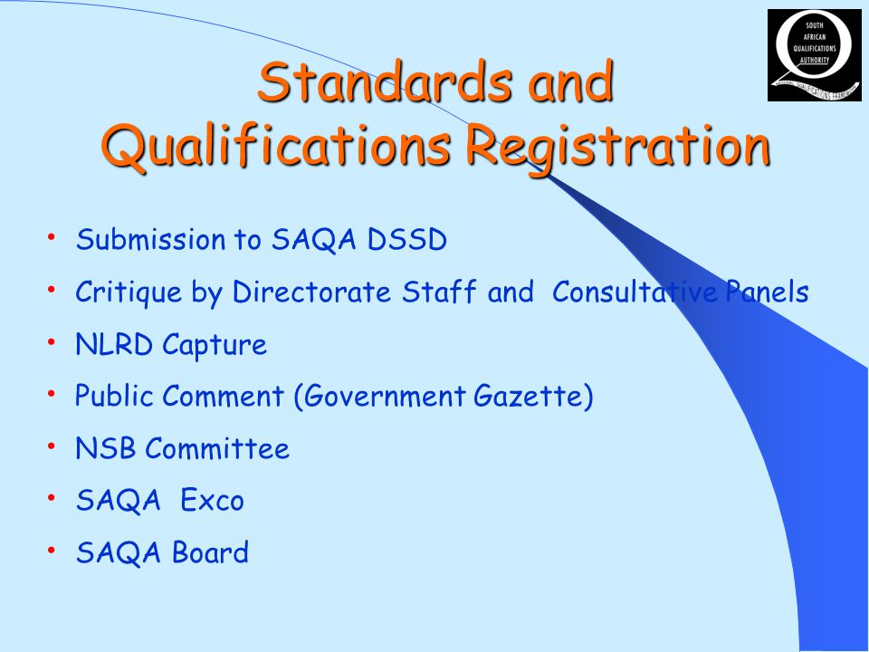 Standards and Qualifications Registration Submission to SAQA DSSD Critique by Directorate Staff and Consultative Panels NLRD Capture Public Comment (Government Gazette) NSB Committee SAQA Exco SAQA Board
