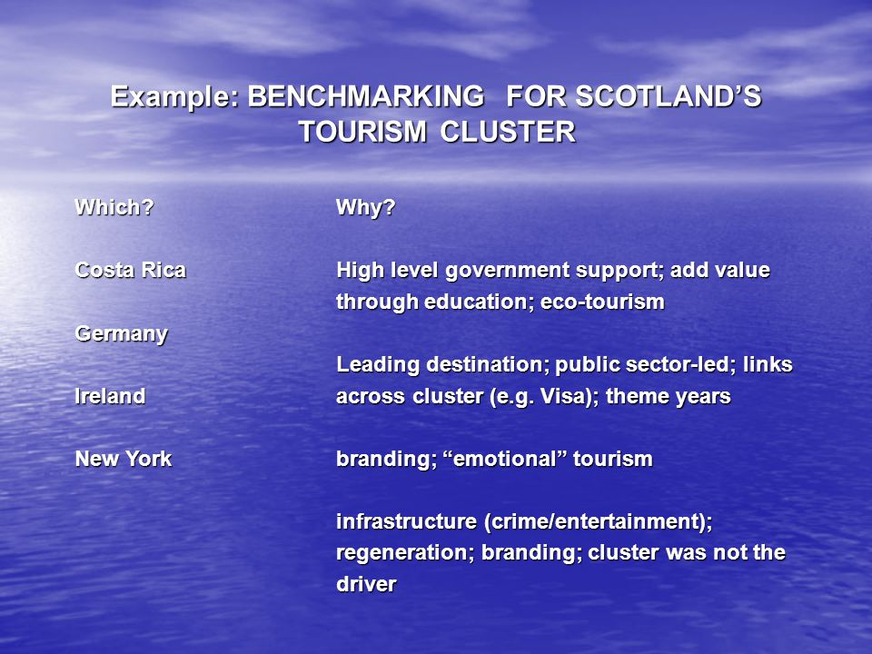 Example: BENCHMARKING FOR SCOTLANDS TOURISM CLUSTER Which? Costa Rica GermanyIreland New York Why? High level government support; add value through ed