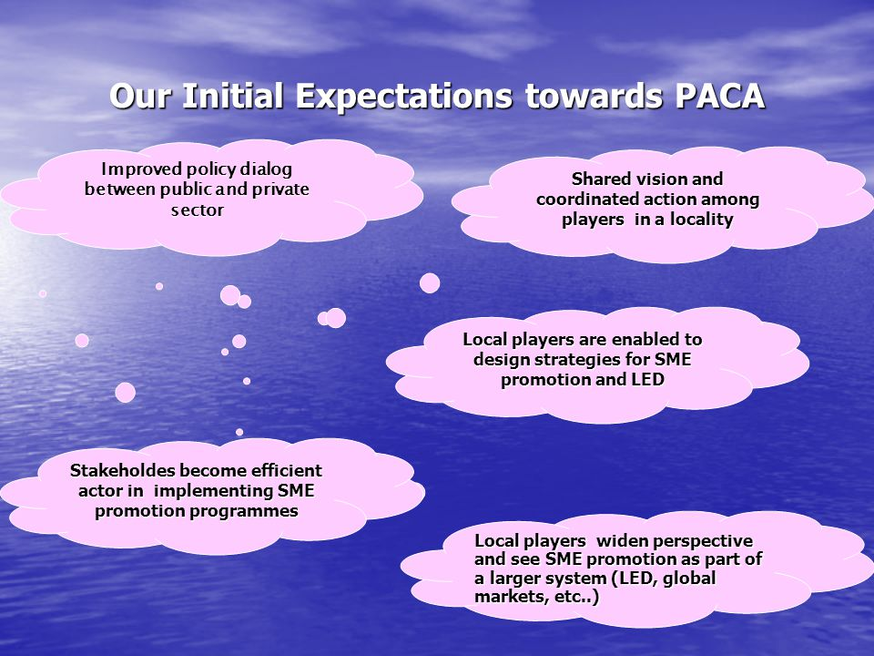 Our Initial Expectations towards PACA Shared vision and coordinated action among players in a locality Local players are enabled to design strategies for SME promotion and LED Improved policy dialog between public and private sector Local players widen perspective and see SME promotion as part of a larger system (LED, global markets, etc..) Stakeholdes become efficient actor in implementing SME promotion programmes