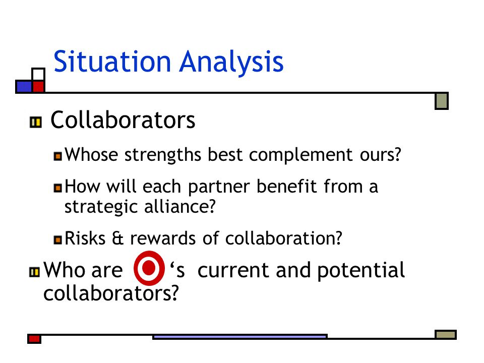 Situation Analysis Collaborators Whose strengths best complement ours? How will each partner benefit from a strategic alliance? Risks & rewards of col