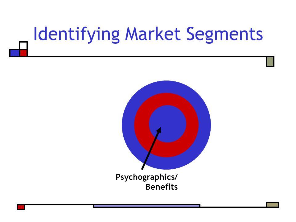 Identifying Market Segments Psychographics/ Benefits
