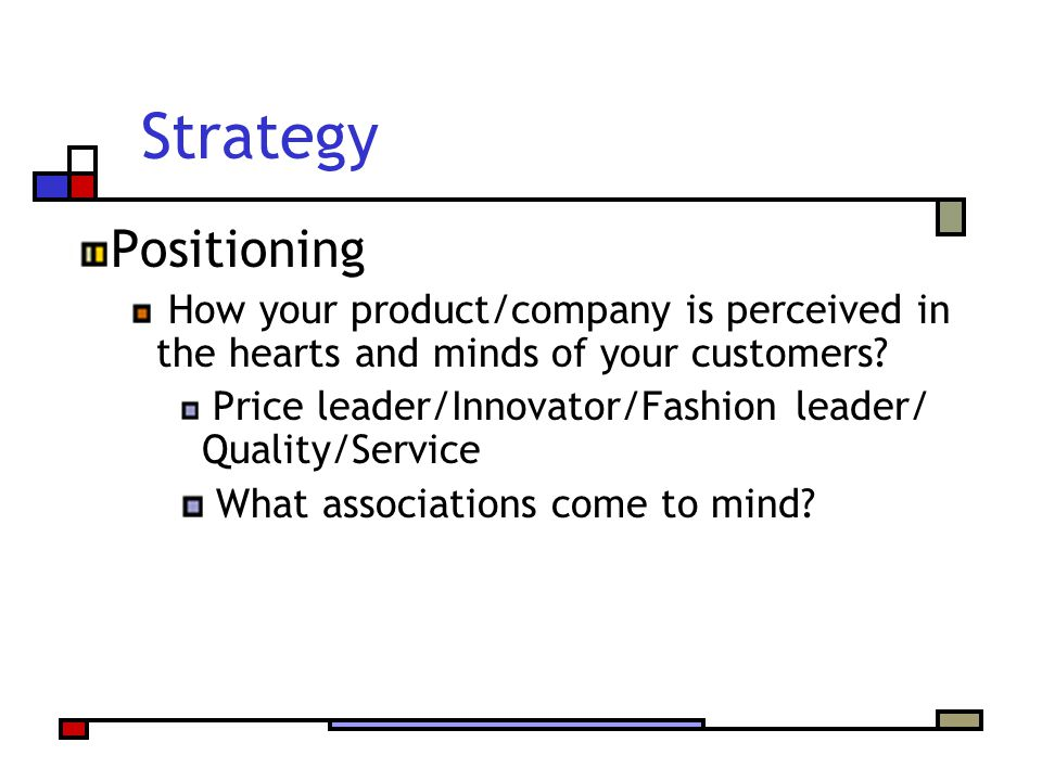 Strategy Positioning How your product/company is perceived in the hearts and minds of your customers? Price leader/Innovator/Fashion leader/ Quality/S