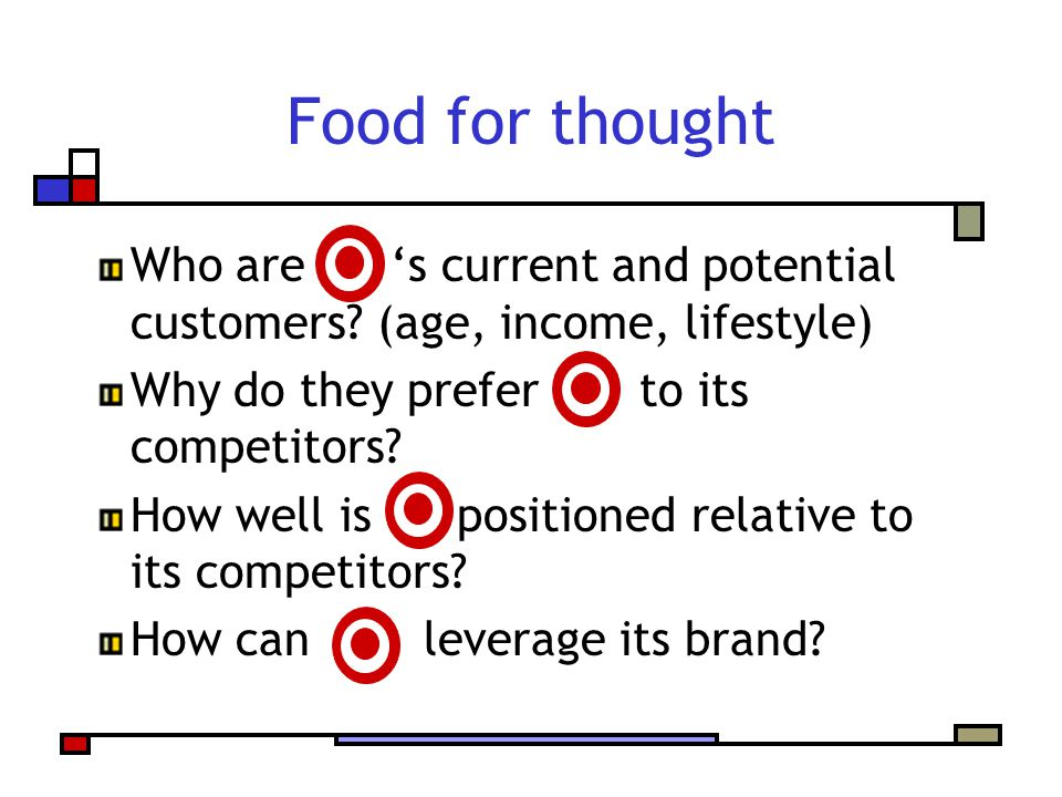 Food for thought Who are s current and potential customers? (age, income, lifestyle) Why do they prefer to its competitors? How well is positioned rel
