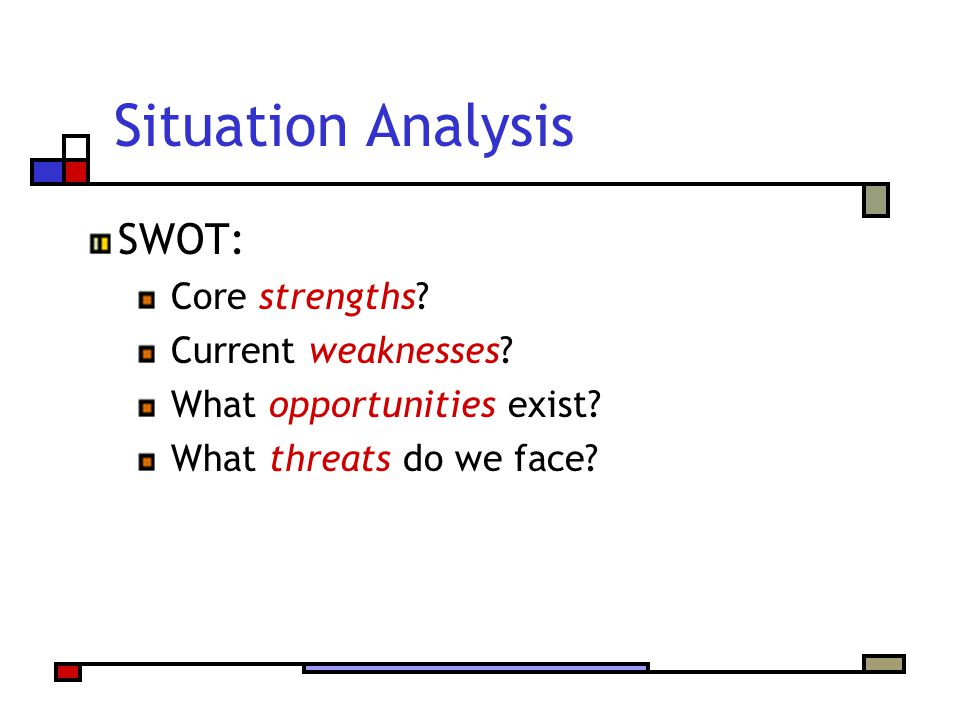 Situation Analysis SWOT: Core strengths? Current weaknesses? What opportunities exist? What threats do we face?