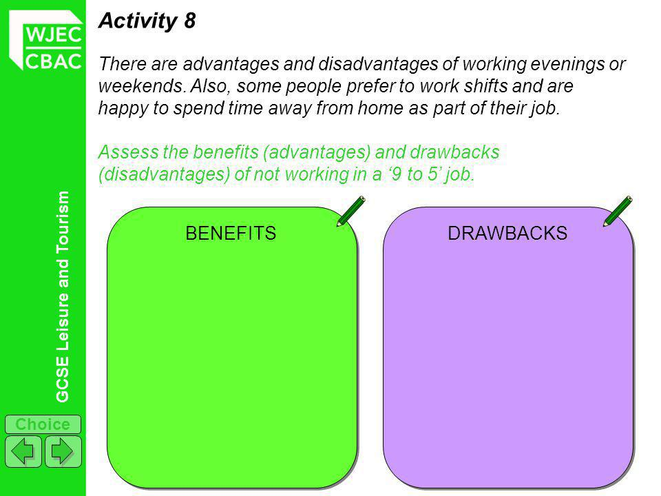 GCSE Leisure and Tourism Choice Activity 8 There are advantages and disadvantages of working evenings or weekends. Also, some people prefer to work sh