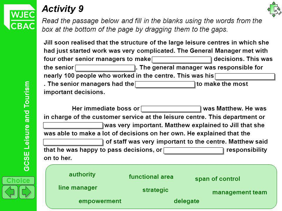 GCSE Leisure and Tourism Choice Activity 10 For a leisure or tourism organisation you have studied, complete the table below by identifying 6 job roles, giving a brief description of the job and stating if it is a manager, supervisor or operative.
