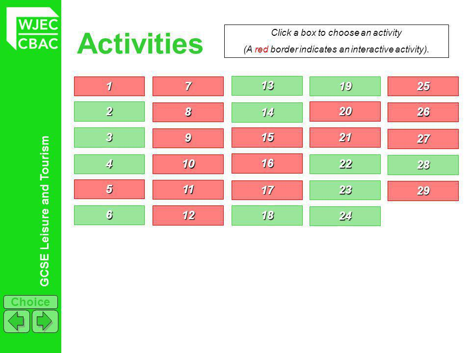 GCSE Leisure and Tourism Choice Activities 1111 2222 3333 4444 5555 6666 7777 Click a box to choose an activity (A red border indicates an interactive