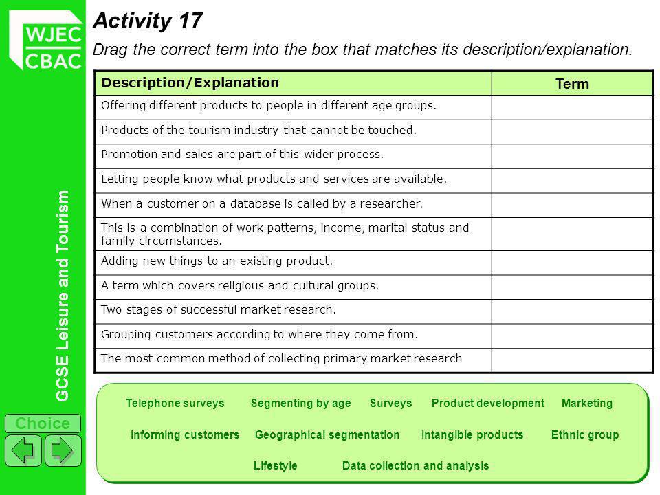 GCSE Leisure and Tourism Choice Activity 17 Drag the correct term into the box that matches its description/explanation.