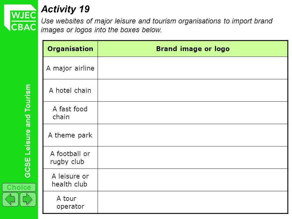 GCSE Leisure and Tourism Choice Activity 19 Use websites of major leisure and tourism organisations to import brand images or logos into the boxes bel